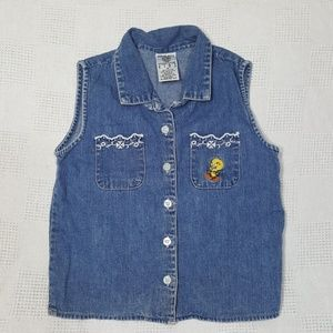 Vintage Tweety Denim Warner Bros. Shirt Medium